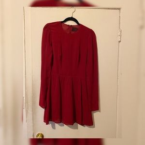 Reformation long sleeved mini dress in deep red